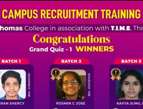 Campus Recruitment Training: Grand Quiz 1 Winners.