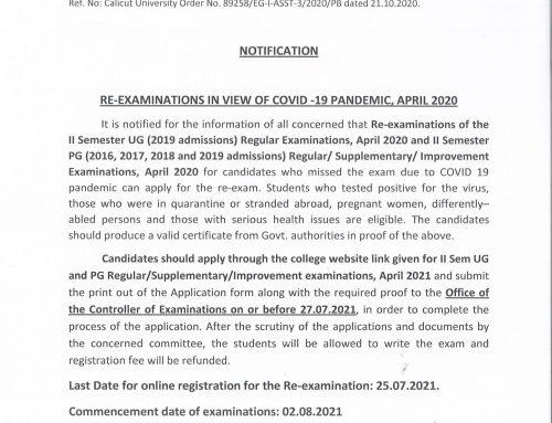 Re-examination registration notification for II Sem UG (2019 admn-Regular) and PG (2019 & earlier admissions) Regu/SUpple/Improve, April 2020