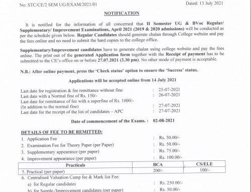 II Sem UG & BVoc Regular/Supplementary/Improvement Exam, April 2021 registration notification